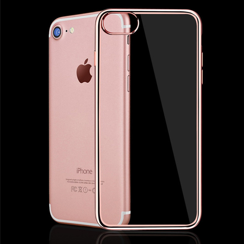 Luxusní pokovování křišťálově čisté pouzdro na telefon pro Apple iPhone 7 a ultra tenký průhledný TPU měkký silikonový kryt pro iphone7 Coque