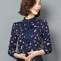 OL Mulheres Blusas de Impressão 2017 Primavera Blusas de Chiffon Arco de Manga Comprida Casual Camisa Blusa Mulheres Encabeça Camisas de Moda Feminina Novo