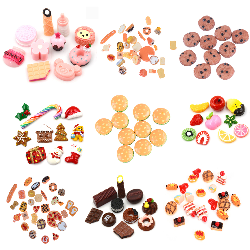 Cute Mini Play Toy Fruit Food Cake Candy Fruit Hamburg Biscuit Donuts Miniature For Dolls Accessories Kitchen Play Toys Hot Sale