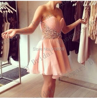 Cocktail Party Dress 2016 Hot New Sweetheart Sleeveless Crystal pleated Homecoming Dress Short Mini Dress Custom Made Discount
