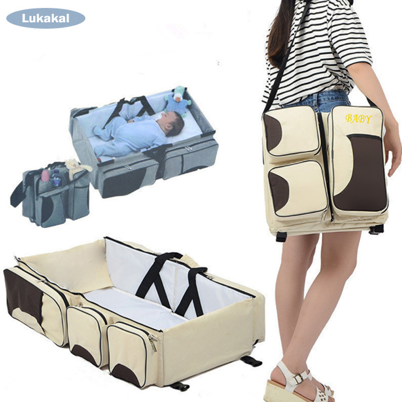 Large Capacity Baby Mummy Bag Outdoor Travel Portable Fodling Baby Bed Bag Mochila Nursing Bag Baby Care for Baby Nappy Bag 2in1 baby travel crib can be mummy bag protable fold travel baby bed