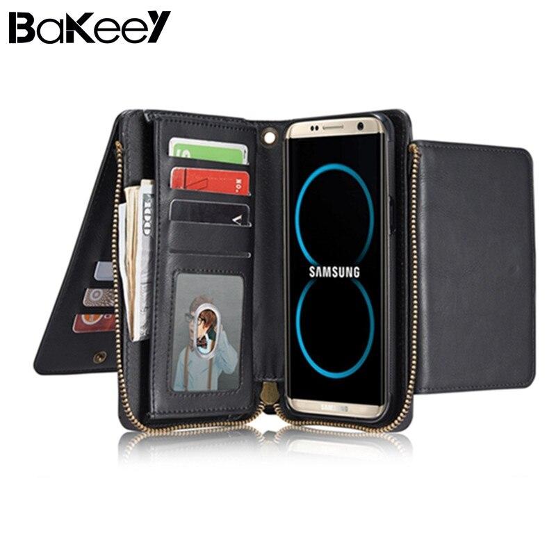 Bakeey Ретро Multi Слот Подставки съемный кожаный бумажник на молнии чехол для Samsung-Galaxy S8 Plus Multi Слот магнит назад крышка