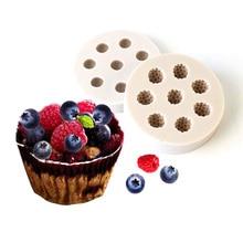 Moule à gâteau en silicone pour myrtille, fondant et canneberge, outils de décoration de gâteau, moule à savon B044/B045