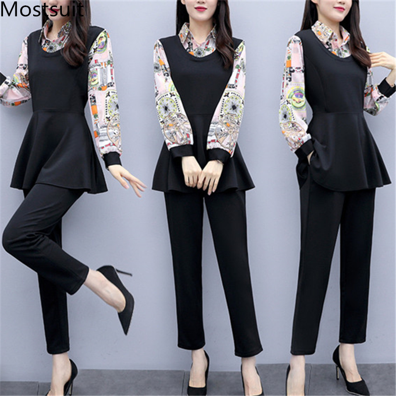 L-5xl 2019 Black Printed Two Piece Sets Women Plus Size Fake Two Pieces Tunics Tops And Pants Suits Elegant Korean Office Sets 23