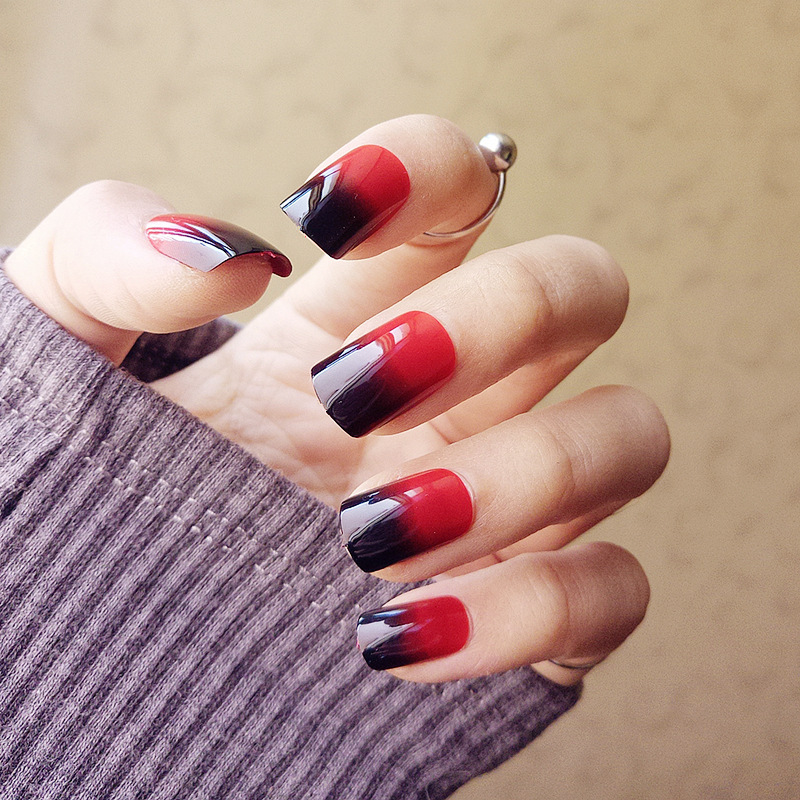 24pcs/set Super nice Acrylic Fake Nails Color Black + Red Gradient ...