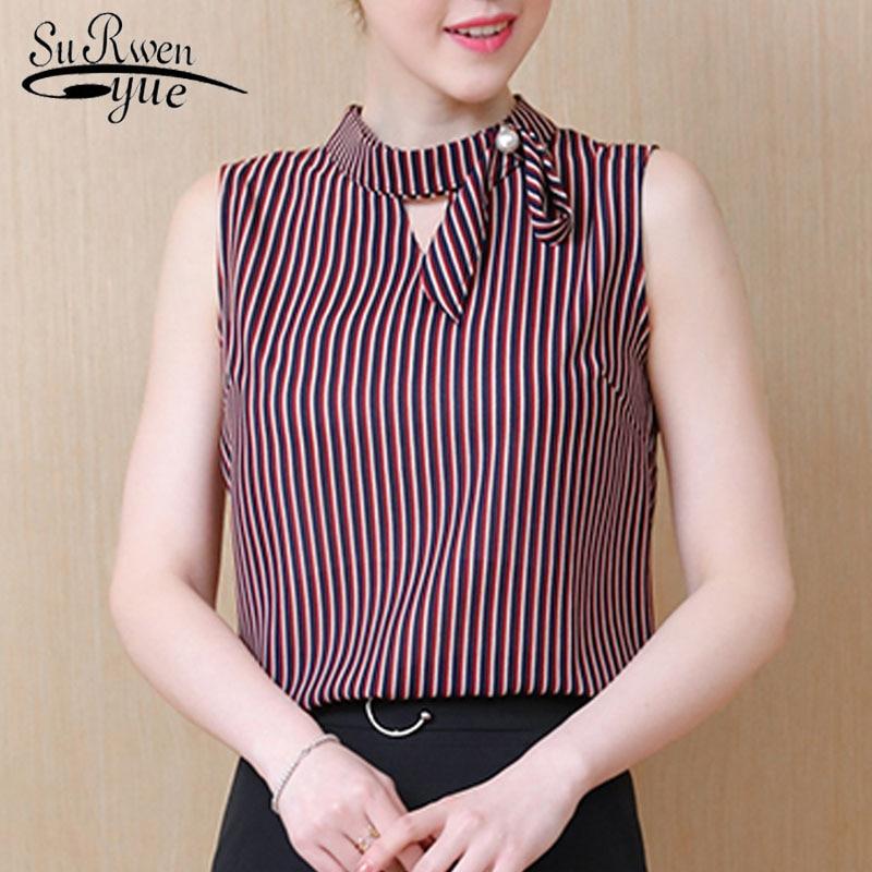 Fashion women blouses 2018 sleeveless striped office lady shirt summer women tops chiffon women blouse shirt TOPS blusas 0499 30