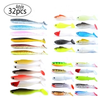 Meredith 32pcs 4 Type Soft Plastic Bait for Fishing Lure Artificial Swimbait for All Kinds of Fishing Rigs Free shipping