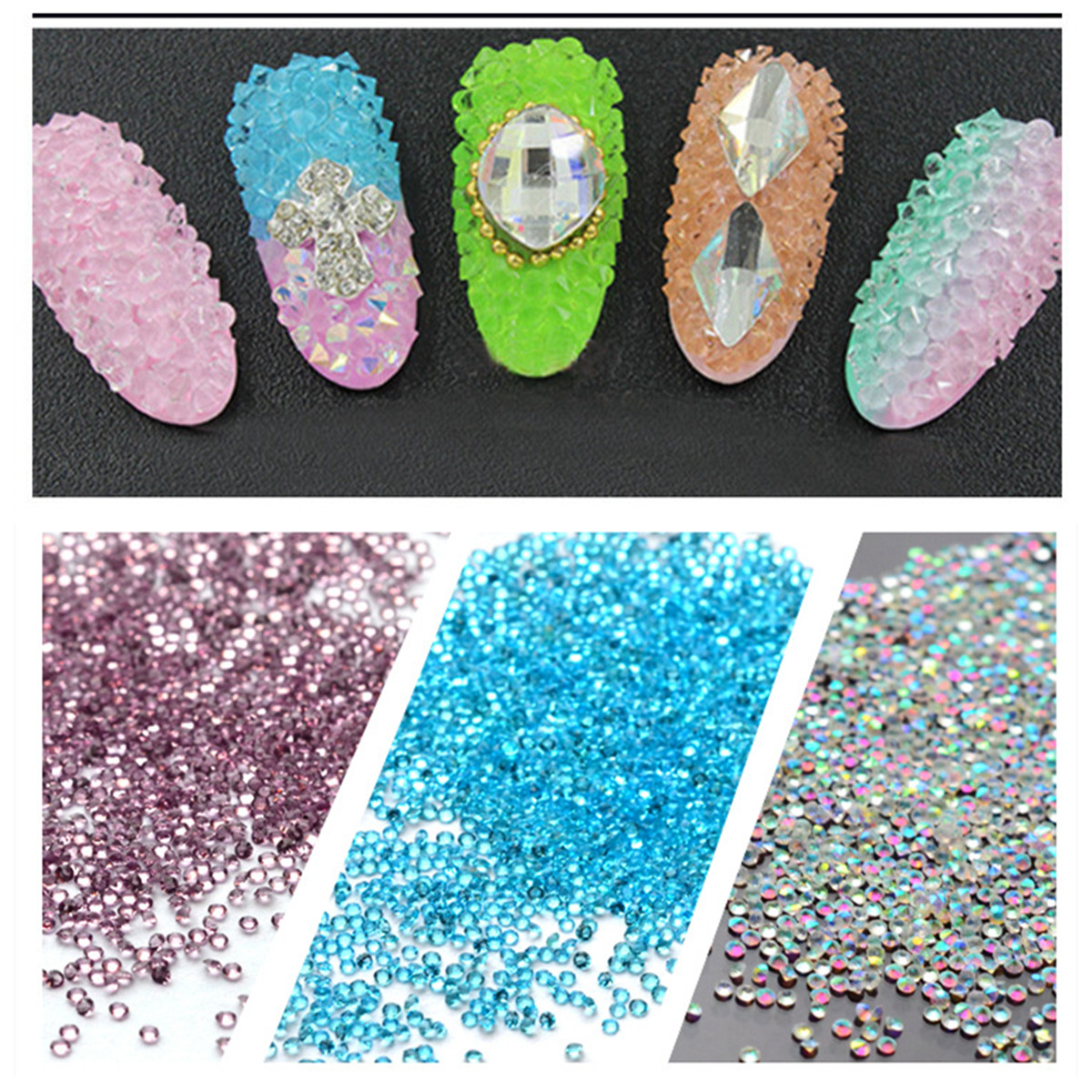 Ab Caviar Microbeads Nail Glitter Rhinestones Mix Color 0408mm 3d