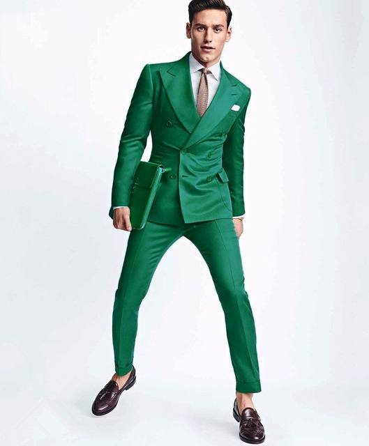 2017 Latest Coat Pant Designs Green Men Wedding Suits Slim Fit 2 Piece Double Ted Tuxedo Custom Groom Prom Blazer Masculino