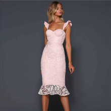 Pink Elegant Bandage With Lace Dress