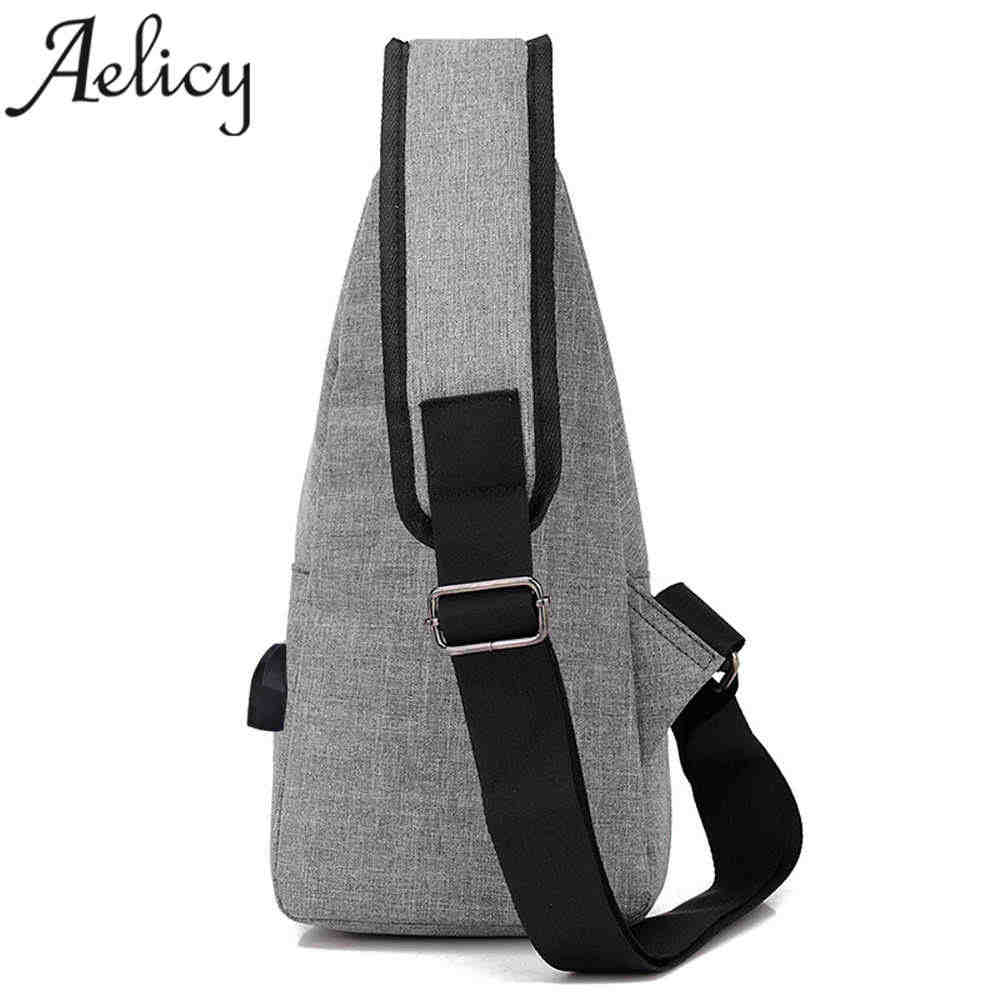 cc0dde3b410 ... Aelicy Luxury Anti theft Backpack Unisex USB Casual Canvas Unbalance Backpack  Crossbody Sling Shoulder Bag For ...