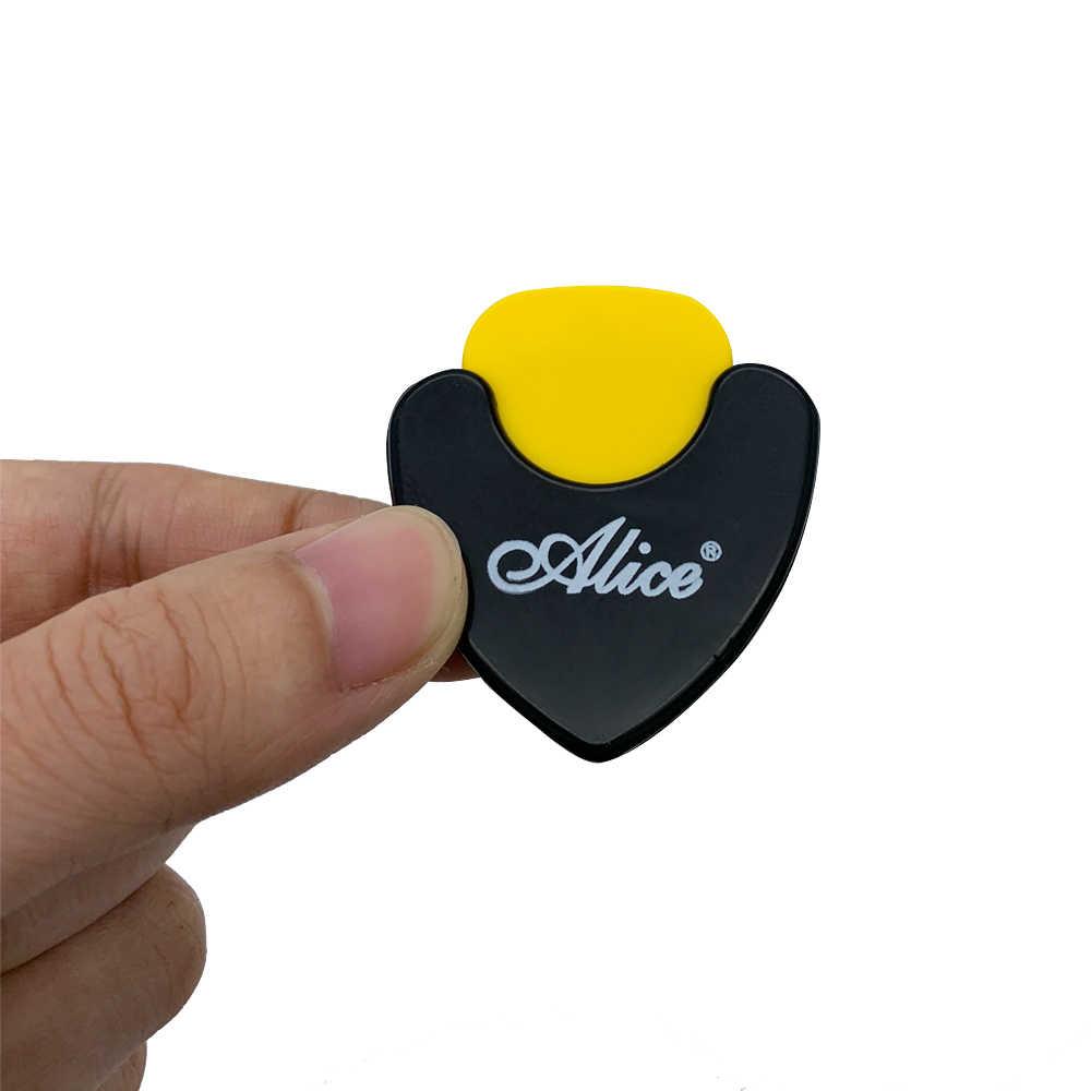 1 قطعة أليس الغيتار اختيار حامل البلاستيك الريشة حالة الوسيط سريعة تخزين الذاتي لاصق مثلث شكل 7 خيارات للون