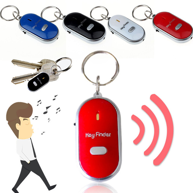New 1pc Whistle LED Light Torch Remote Sound Control Lost Key Finder Locator Remote Keychain Keyring With Whistle Claps