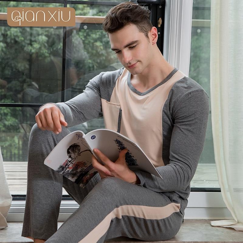 Qianxiu Pajamas Homewear Long-Sleeve Modal For Men Patchwork Casual 1409