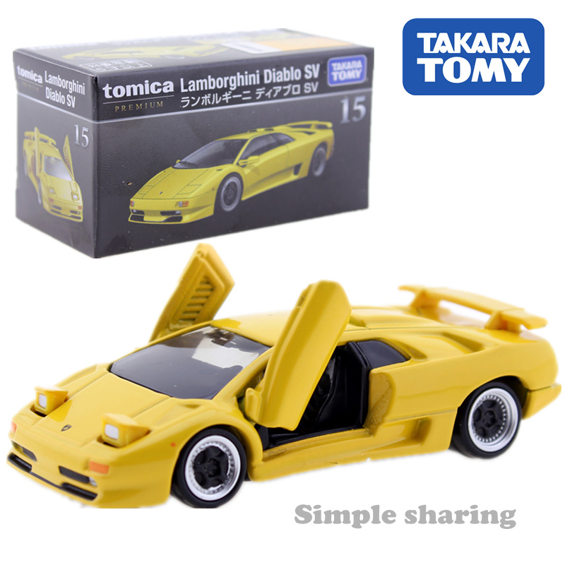 Tomica Premium No.15 Lamborghini Diablo SV Yellow Takara Tomy Metal Diecast Toy Car Model Vehicle Toys For Children Collectables
