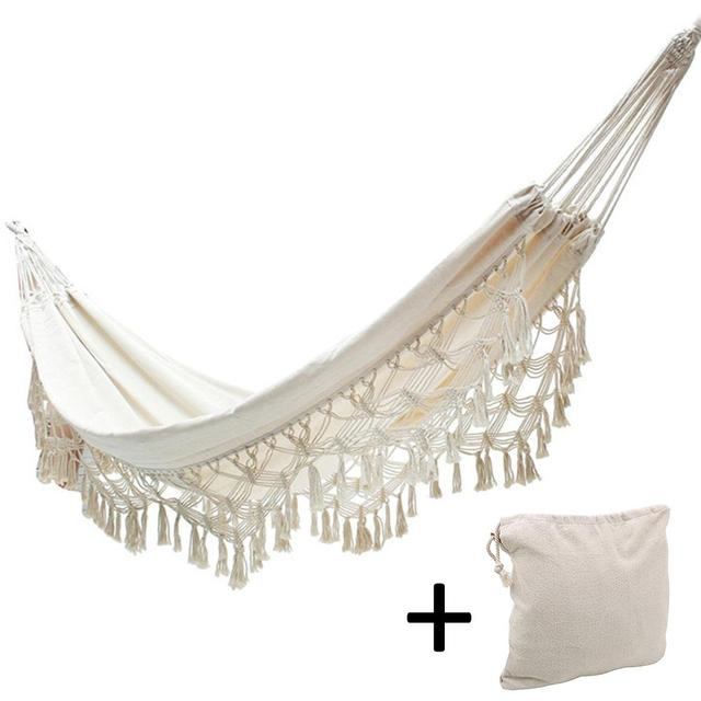 White Cotton Material Bohemian Nordic Wind Indoor Outdoor Tassel Hammock Home Double Beach Swing Speed Delivery