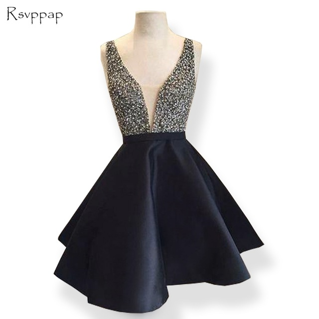Cute V Neck Sleeveless 8th Grade Prom Dresses Beaded Crystals Black