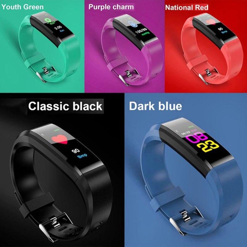 Original 115 plus Wasserdichte Sport Smart Uhr Männer Frauen Herz Rate Fitness Tracker Smart Armbänder Für Android IOS farbe band