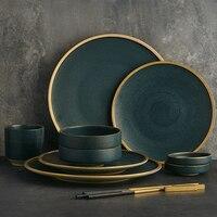 KINGLANG керамика Tablware набор столовых приборов 2/4 человек применение семья столовые приборы Ресторан служит Западной тарелки чаша