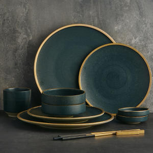 Cutlery-Set Plates-Bowl Serves Ceramic KINGLANG Restaurant Dishes Western Tablware Use
