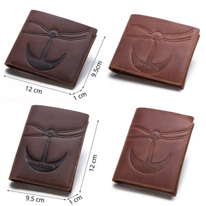 Image 5 - CONTACTS crazy horse 100% genuine leather men wallet slim short coin purse walet man card holder male small coin pocket wallets