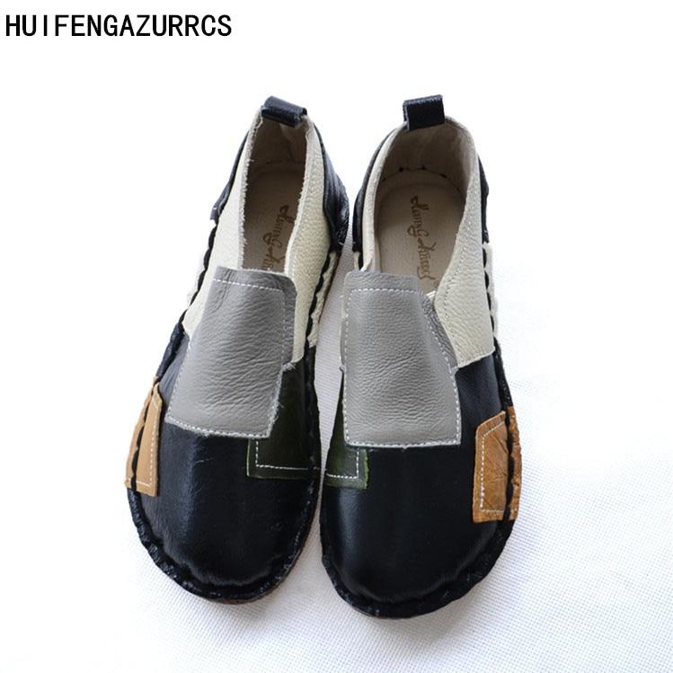 HUIFENGAZURRCS-New Head layer cowhide pure handmade shoes, the retro art mori girl shoes,Women's casual shoes Flats shoes,3color huifengazurrcs head layer cowhide pure