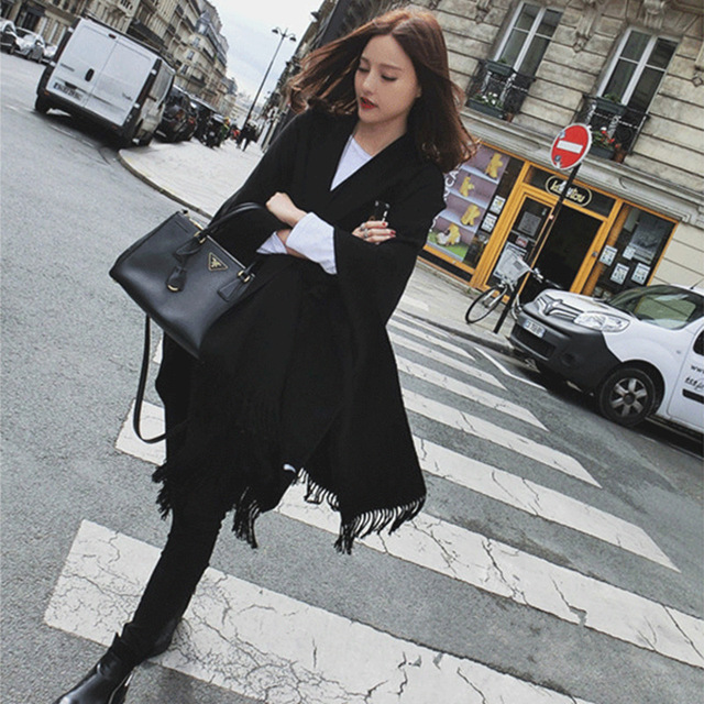 Fashion Wool Felt Ladies Tassels Scarf Autumn Winter Warm Black Thick Long Shawl Pashmina Women Scarves F048-2