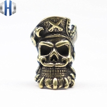 New Brass Bearded Pirate Skull Knife Beads Umbrella Rope DIY Pendant EDC Personality Accessories