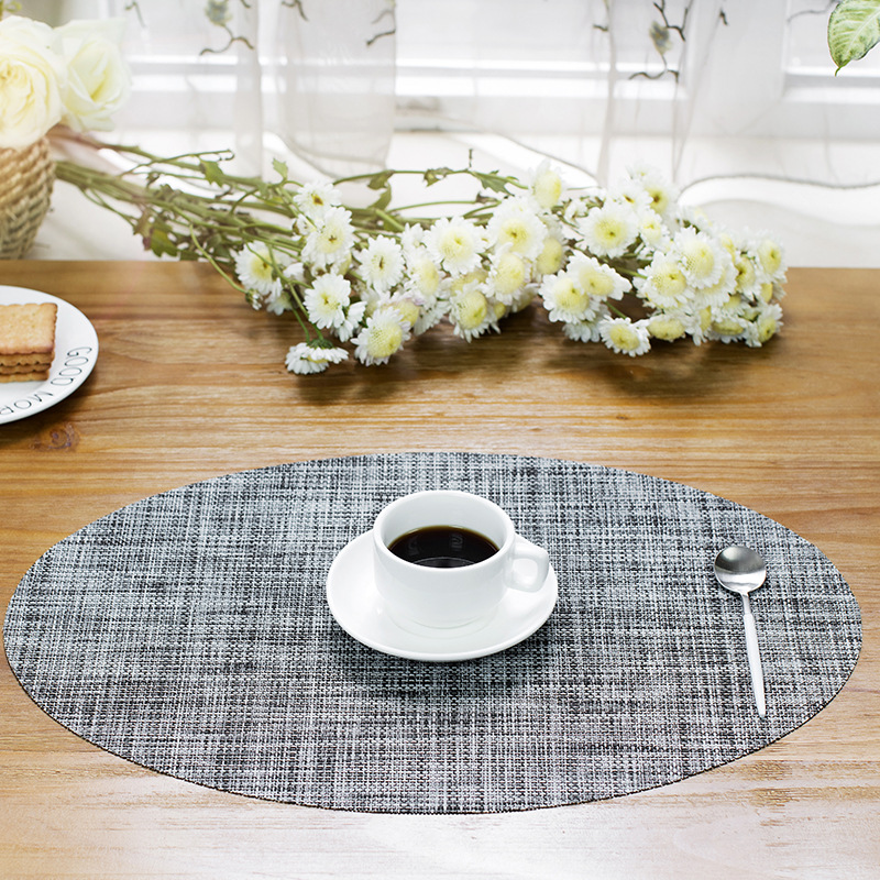Oval Plastic insulation mat Western restaurant coasters Solid color polyester mat Non-slip Placemat Protect table dinner cloth