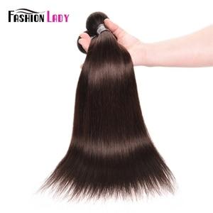 Image 5 - אופנה ליידי מראש בצבע מלזי ישר שיער חבילות חום כהה צבע #2 שיער טבעי הארכת 1/3/4 צרור לחפיסה שאינו רמי