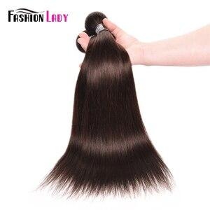 Image 5 - Fashion Lady wstępnie w kolorze malezyjskie proste włosy wiązek ciemny brąz kolor #2 człowieka do przedłużania włosów 1/3/4 Bundle w opakowaniu nie remy