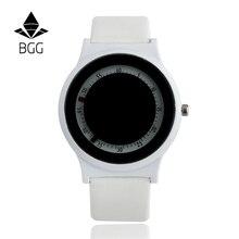 Bgg reloj números arábigos dial ladies casual reloj innovador mujeres visten los niños del reloj de cuero reloj de pulsera de cuarzo horas reloj