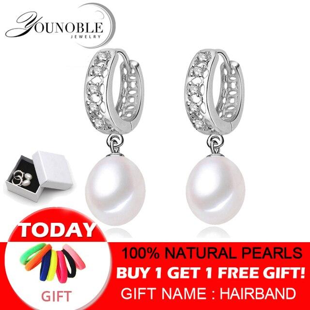 リアル淡水真珠のイヤリング、 925 スターリングシルバー真珠のイヤリング罰金ホワイトパールイヤリングジュエリー brincos perolas