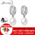 Agua Dulce pendientes de perlas para mujeres de perlas de Plata de Ley 925 pendientes blanco pendientes de perlas joyería de brincos perolas