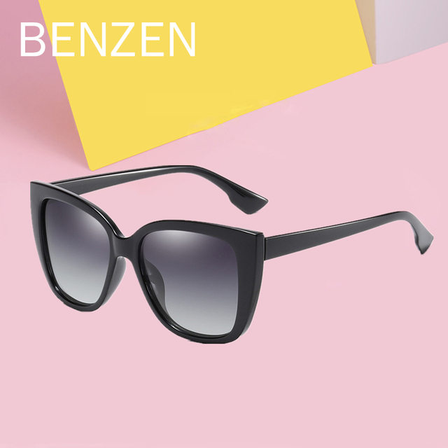 BENZEN Cat Eye Sunglasses Women Vintage Polarized Large Sun Glasses For Driving Retro Ladies Shades Black With Case 6601