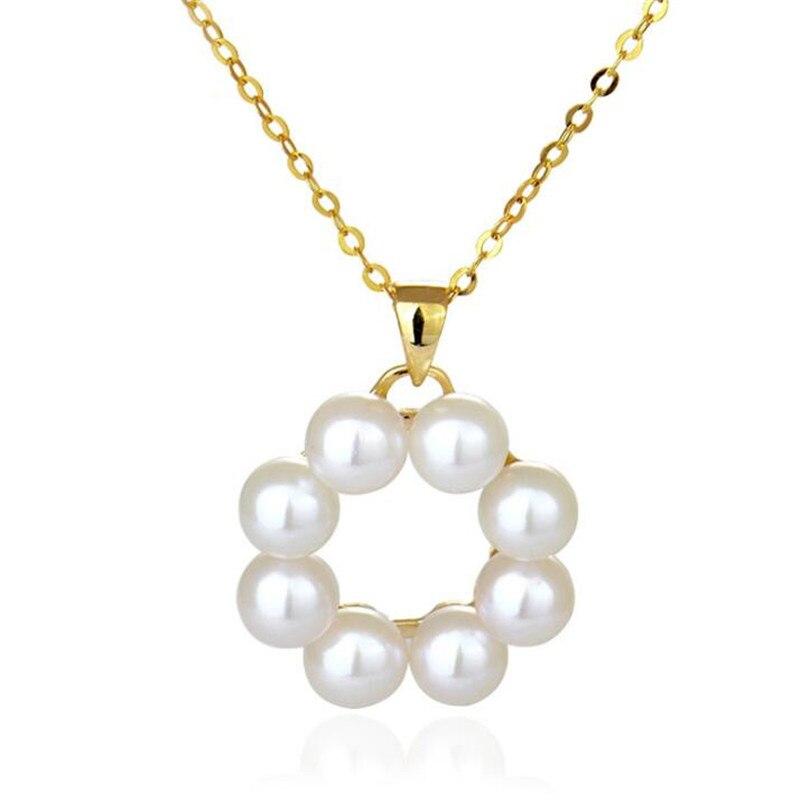 Colliers pendentif perles d'eau douce européennes 5mm or 18 K AU750 OL accessoires pour femmes collier pendentif rond Bijuterias