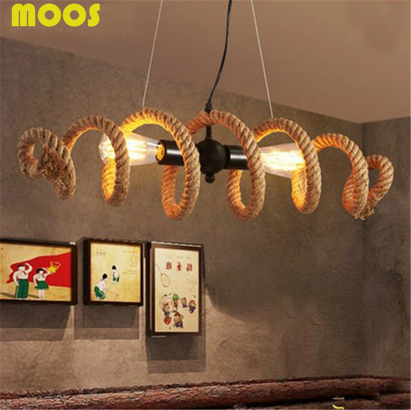 Loft Vintage DIY Handmake Rope Pendant Lights  Industrial Pendant Lamps E27 Edison Bulb Bar Light Fixture Luminiare hanging lamp