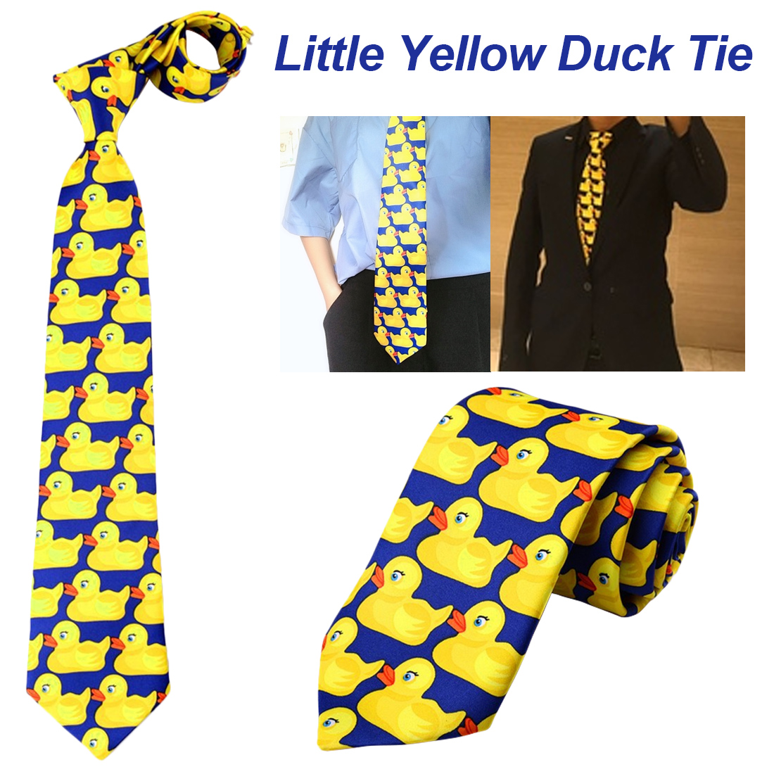 Men Fashion Casual Fancy Ducky Professional Necktie New Cute Ducky Tie Little Yellow Duck Tie 1Pcs Yellow Funny Rubber Duck Tie in Men 39 s Ties amp Handkerchiefs from Apparel Accessories