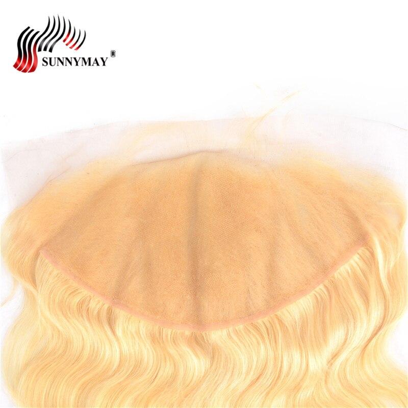 Sunnymay 13x6 Blond Snörning Frontal Closure 613 Färg Brasiliansk - Mänskligt hår (svart) - Foto 6