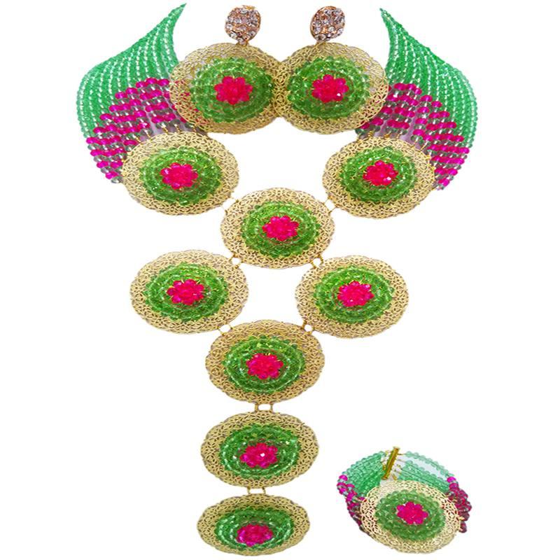 Ensembles de bijoux en cristal d'anniversaire africain rose Fuchsia vert clair de bonne qualité pour les femmes 10C-9PH-15