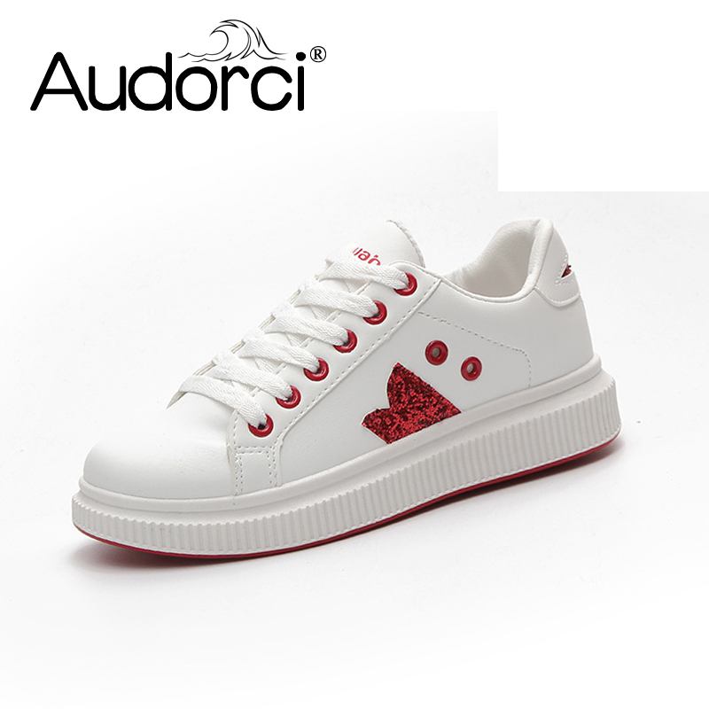 Audorci Women Shoes 2018 Spring New Casual Board Shoe Woman Fashion Comfortable Flat Small White Shoes Size 35-40 kiind of new white women s size small s sheer textured sleeveless blouse $39