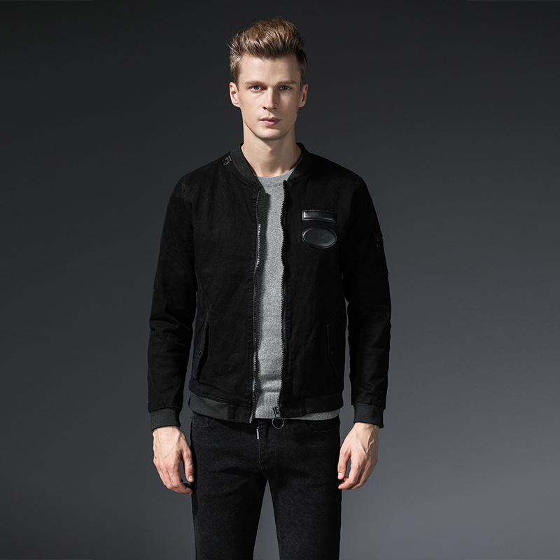 New Fashion Mens Solid Jean Jacket Washed Denim Slim Fit Hole Thick Coat Top Overcoat Hot Jeans Autumn Black