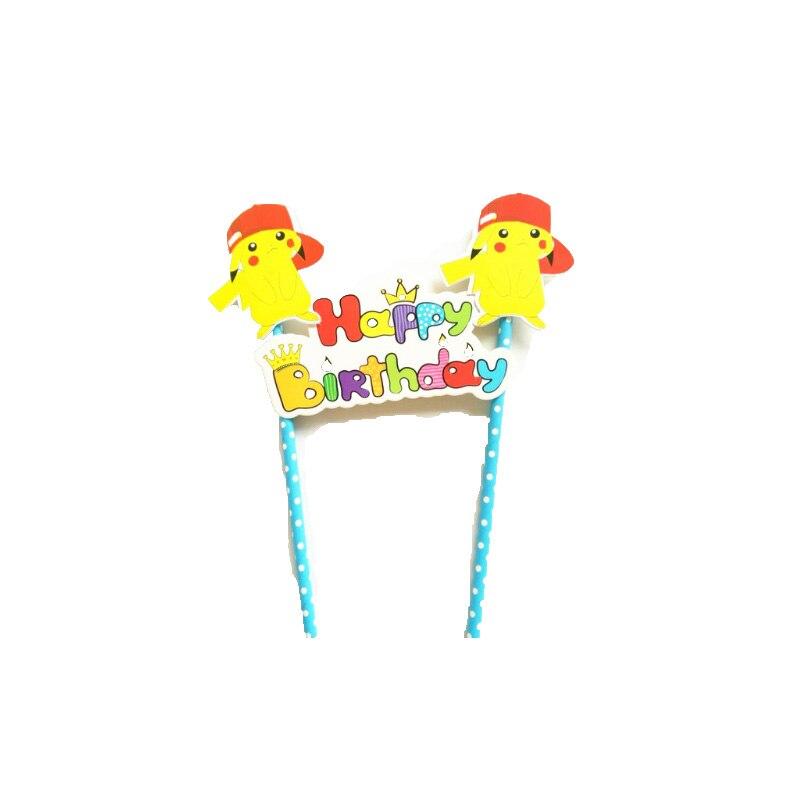 1set Pokemon Pikachu Flag Kids Birthday Party Cake Decoration Cake Toppers Masked Man Cake Picker Happy Birthday Party Supply