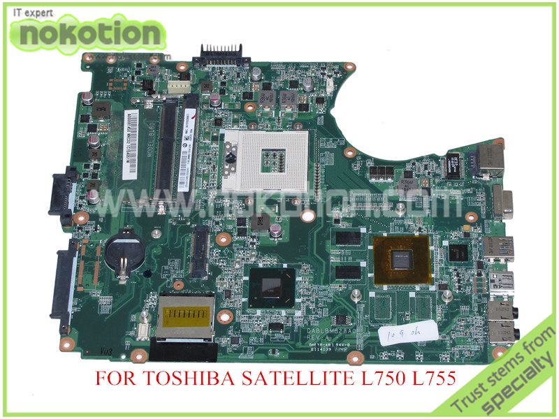 NOKOTION A000081450 DABLBMB28A0 REV A LAPTOP MAINBOARD For toshiba satellite L750 L755 motherboard HM65 DDR3 nokotion nbwaa la 5821p rev 0 1 k000085450 laptop motherboard for toshiba satellite l455 mainboard intel gl40 ddr2