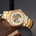 SHENHUA Luxury Brand Steampunk Gold Stainless Steel Strap Military Skeleton Wristwatch Men Fashion Automatic Mechanical Watches