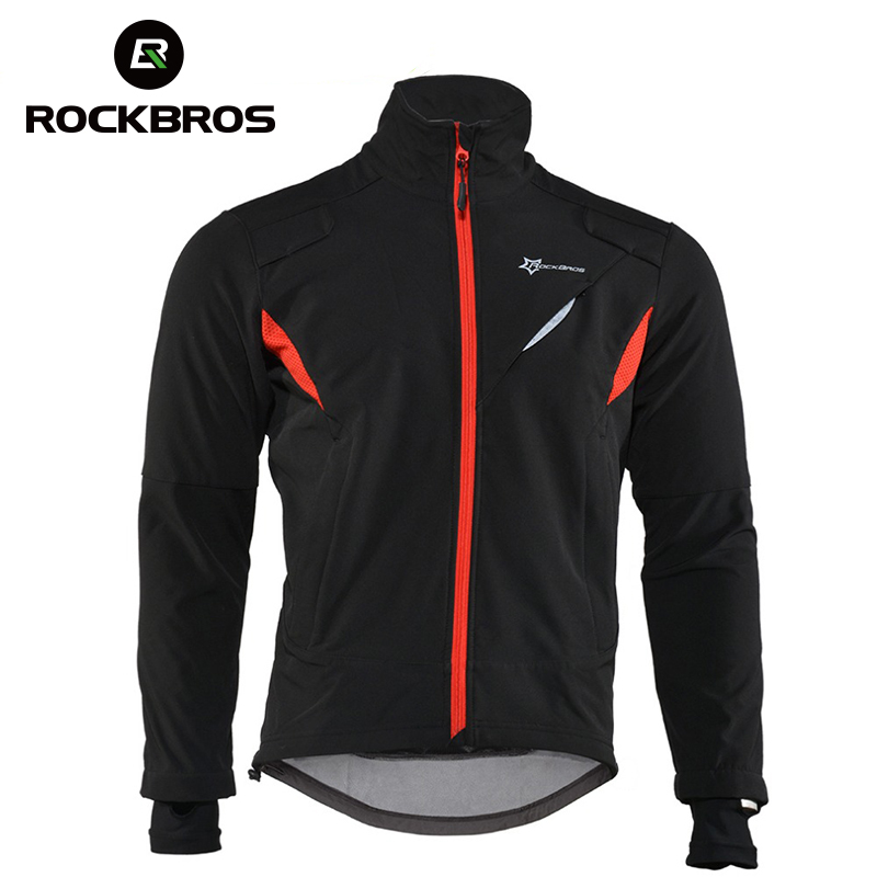ROCKBROS Cycling Jersey Winter Thermal Fleece Long Cycling Clothing Windproof Riding Bicycle Jerseys Rainproof Reflective Jacket black thermal fleece cycling clothing winter fleece long adequate quality cycling jersey bicycle clothing cc5081