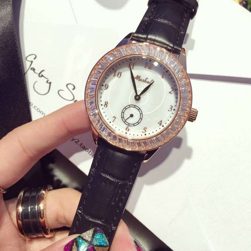 New Famous Brand Fashion Luxury Watch Women Leather Watches Quartz Clock With AAA Crystal reloj mujer 2017 top fashion simple classic style famous brand quartz watch women casual leather watches men hot clock reloj mujeres