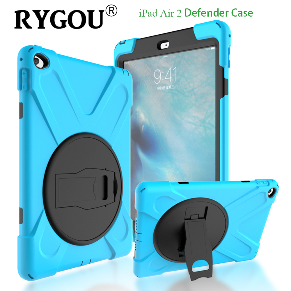 RYGOU For iPad Air 2 Case Armor Shockproof High Impact Resist Silicone Heavy Duty FullBody Protective Case Cover For Ipad Air 2 new arrival tough military rugged heavy shockproof dirt proof armor case cover impact on life for ipad 432 free shipping