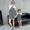 Family Clothing Mother Daughter Dresses Long Sweaters and Pullovers Striped Loose Outfits Matching Mother and Daughter Clothes