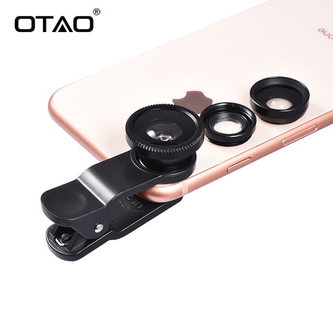 Original 3-in-1 Wide Angle Macro Fisheye Lens Kit with Clip 0.67x Mobile Phone Fish Eye Lenses for iPhone For Samsung All Phones Lahore